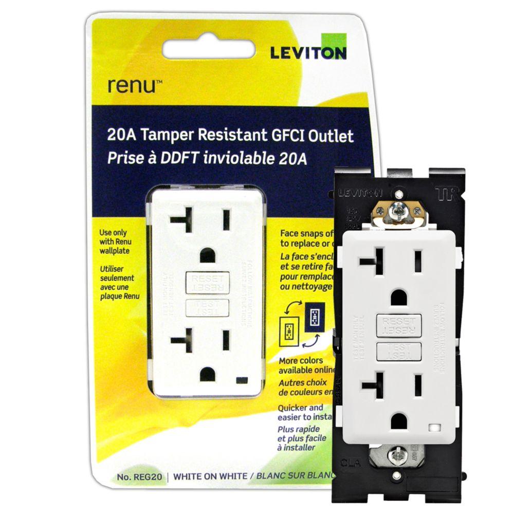 Renu Tamper-Resistant GFCI Outlet REG20-700, 20A-125VAC REG20-700 Canada Discount