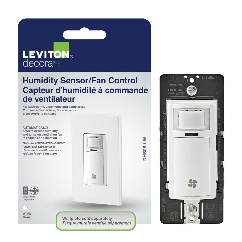 Détecteur d'humidité et commande de ventilateur, blanc