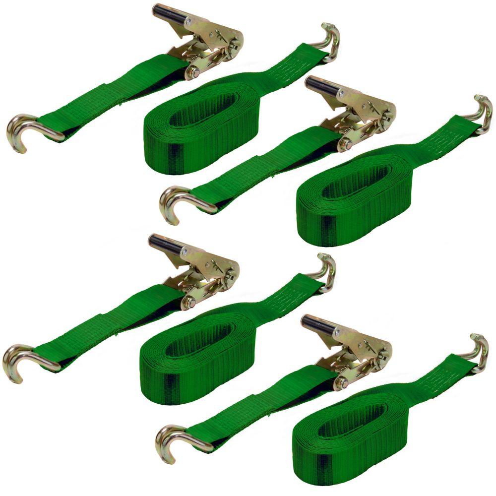 KEEPER Tie-Down 2 Inch X 16 Feet J-Hooks, 4 Pack