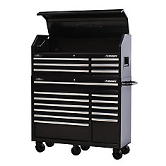 52-inch 18-Drawer Tool Chest and Rolling Tool Cabinet Set in Black