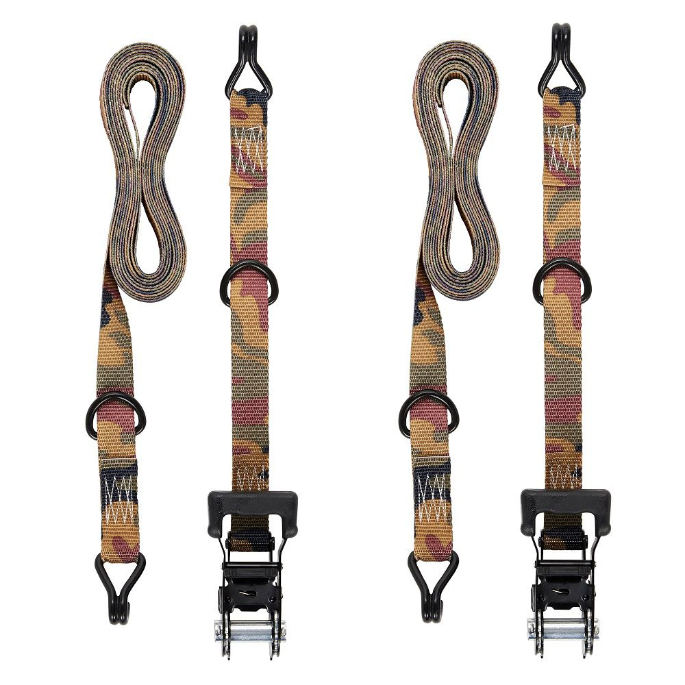 KEEPER 16 Feet.  Ratchet Tie Down, Camo, J Hook