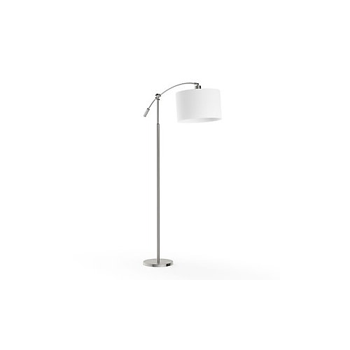 63.75-inch Brushed Steel Adjustable Height Arc Lamp with White Fabric Shade