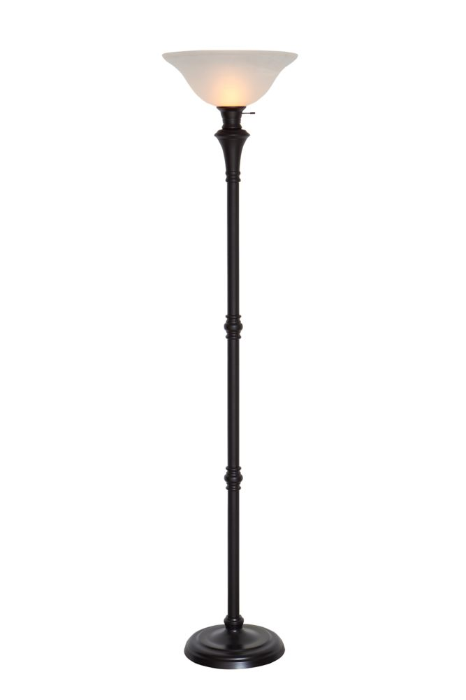 Elegant 72.8 Inch Floor Lamp In Bronze With White Alabaster Glass Shade