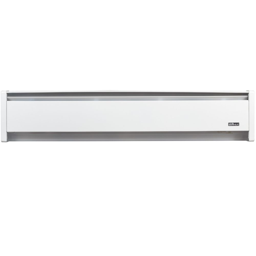 Electric Baseboard Heater SoftHeat Hydronic- 1000W/240V Left-end wire 59 Inch White