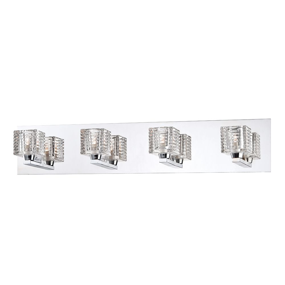 Hampton Bay Olivet 4-Light Chrome Vanity Light with Crystal Glass Shades