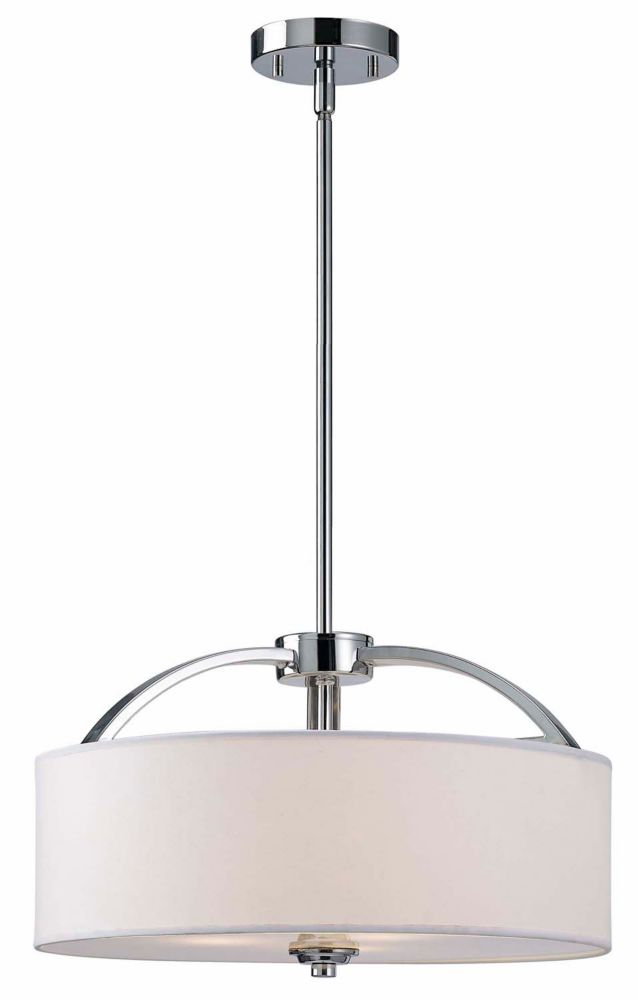 MILANO 3 Light Chrome Chandelier, White Fabric Shade With Frosted Glass