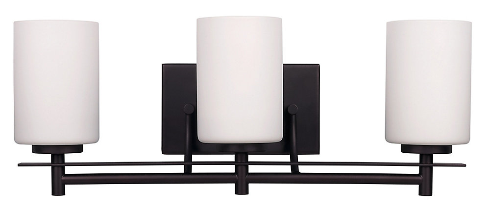 Carlton 3-Light Vanity Light in Oil-Rubbed Bronze with White Opal Glass