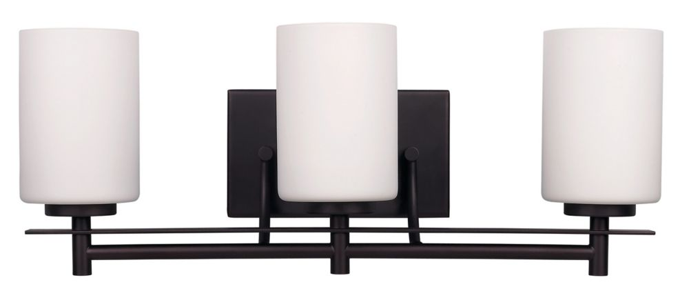 Canarm Ltd. Carlton 3-Light Vanity Light in Oil-Rubbed Bronze with White Opal Glass