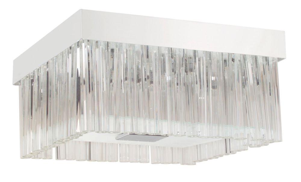 EVIA Semi-Flushmount Square 8L, Chrome Finish, Frosted & Clear Glass