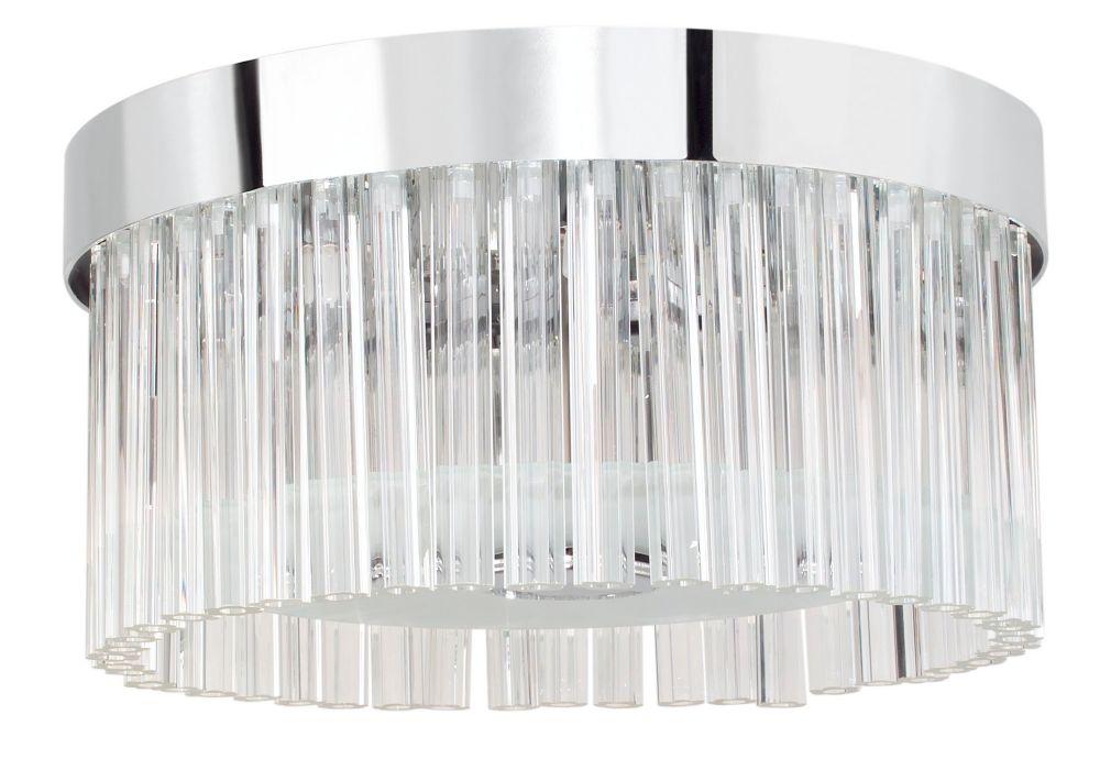 EVIA Semi-Flushmount Round 8L, Chrome Finish, Frosted & Clear Glass