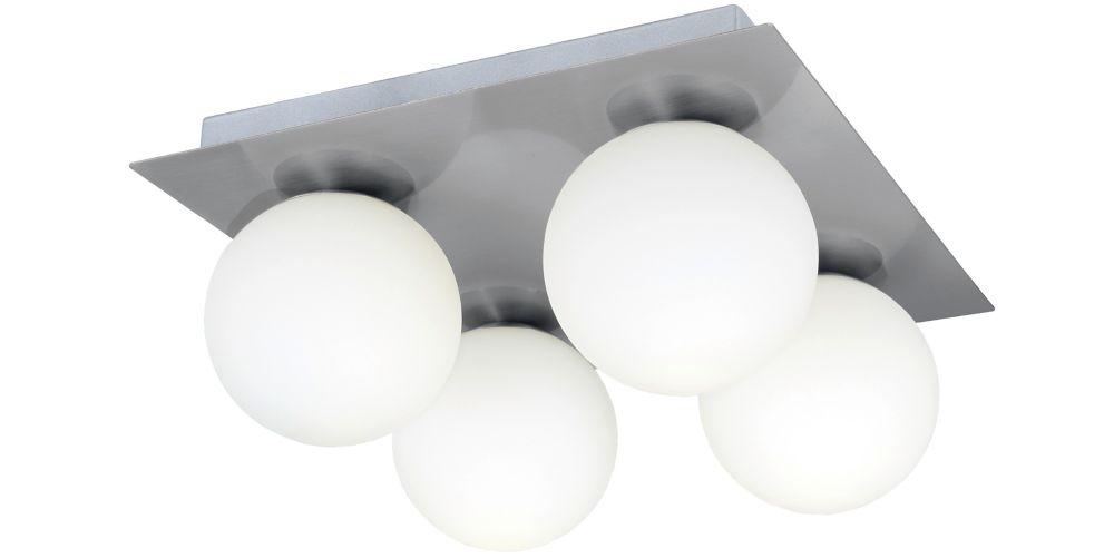 FERROL Semi-Plafonnier 4L, Fini Nickel Mat, Verre Blanc