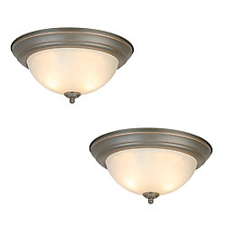 Commercial Electric 13-inch 2-Light 60W Oil-Rubbed Bronze Flushmount Ceiling Light with Glass Shade (2-Pack)