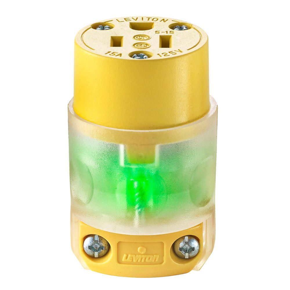 15 A, 125 V, NEMA 5-15R, bipolaire, Connecteur à trois fils, lame droite � lumineux