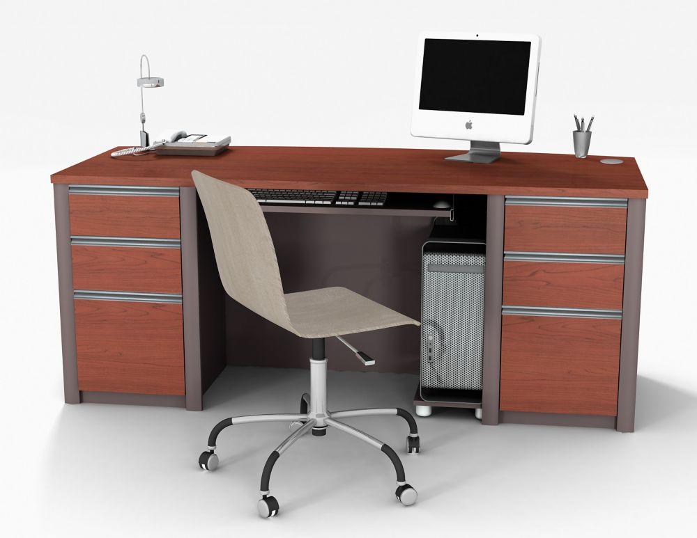 bestar connation executive desk kit in bordeaux slate the home depot canada. Black Bedroom Furniture Sets. Home Design Ideas