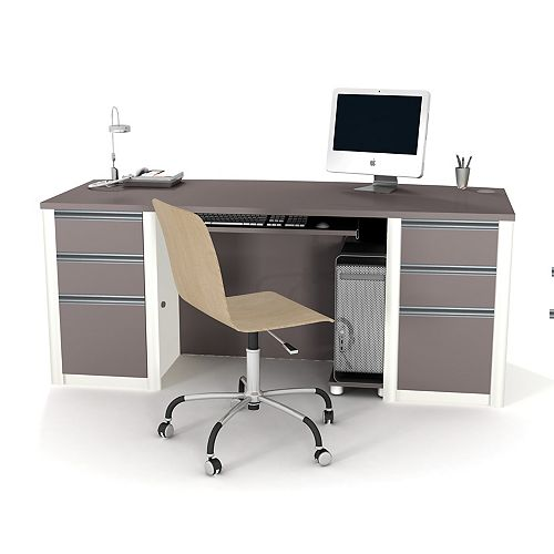 Bestar Connation 71.1-inch x 30.4-inch x 29.8-inch Standard Computer Desk in Grey