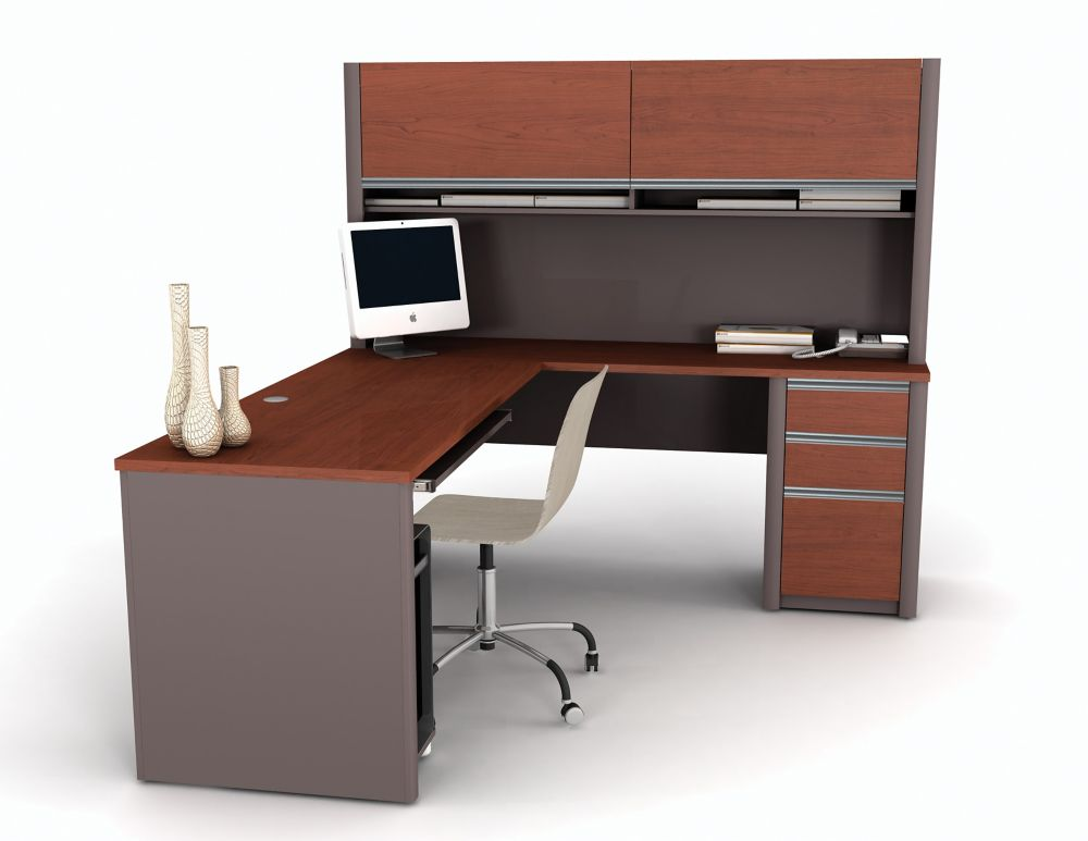 Bestar Connation 71.1-inch x 65.9-inch x 82.9-inch L-Shaped Computer Desk in Red
