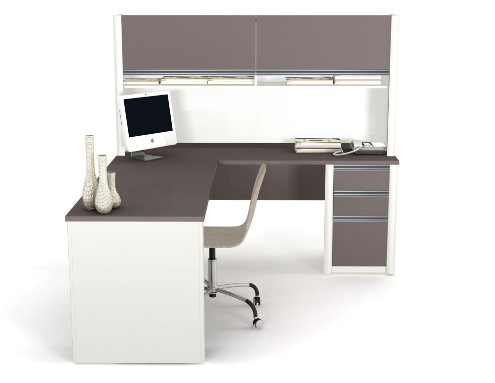 Connation L-shaped with hutch workstation kit in Slate & Sandstone