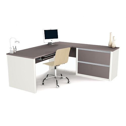 Bestar Connation 71.1-inch x 30.4-inch x 82.9-inch L-Shaped Computer Desk in Grey