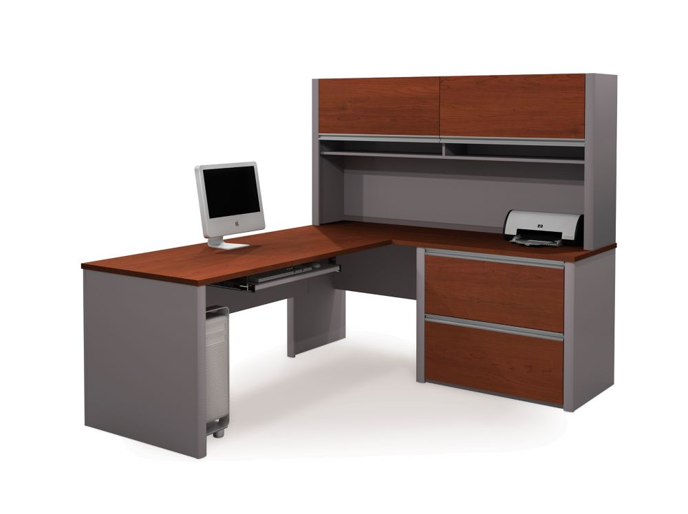 Connation L-shaped workstation kit in Bordeaux & Slate