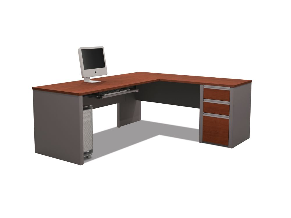 Bestar Connation 71.1-inch x 30.4-inch x 82.9-inch L-Shaped Computer Desk in Red