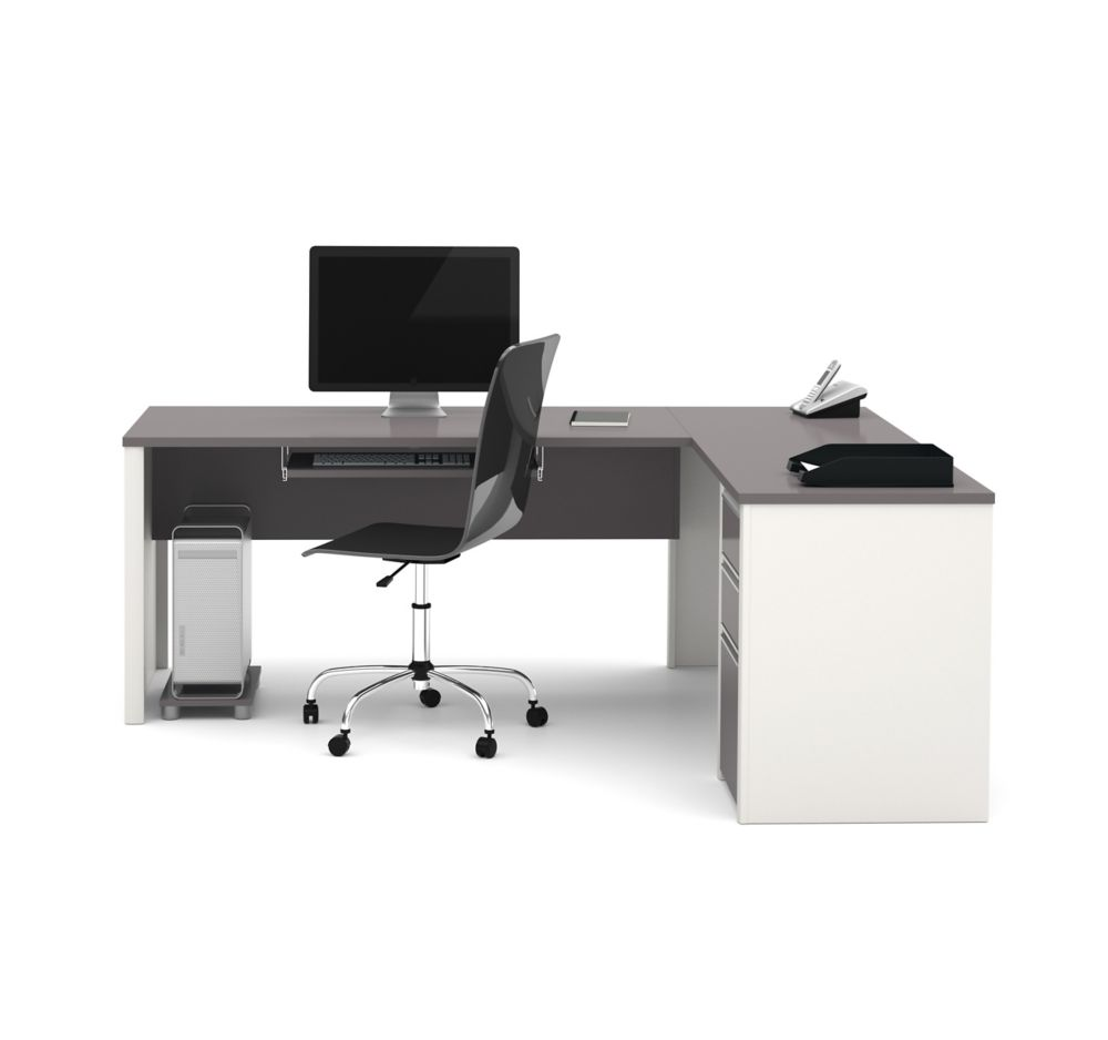 Connation 71.1-inch x 30.4-inch x 82.9-inch L-Shaped Computer Desk in Grey