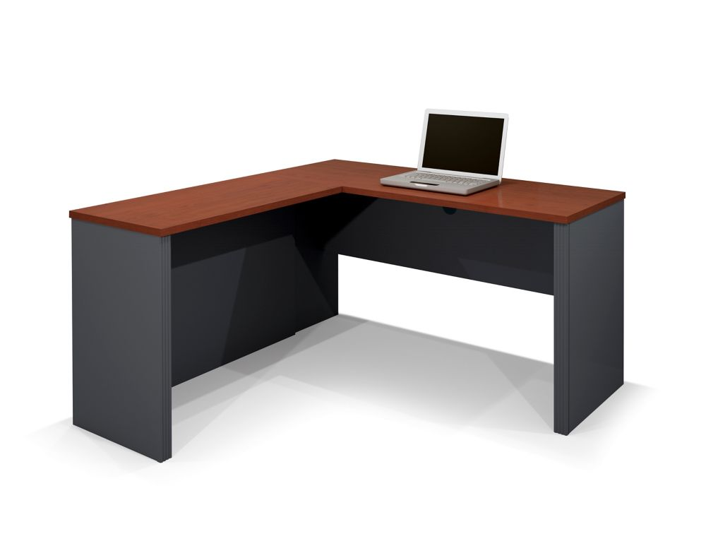 Bestar Prestige + 59.4-inch x 30.4-inch x 62.7-inch L-Shaped Computer Desk in Red