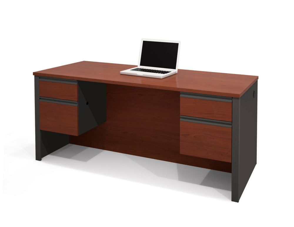 Prestige + Executive Desk with Dual Half Peds in Bordeaux & Graphite