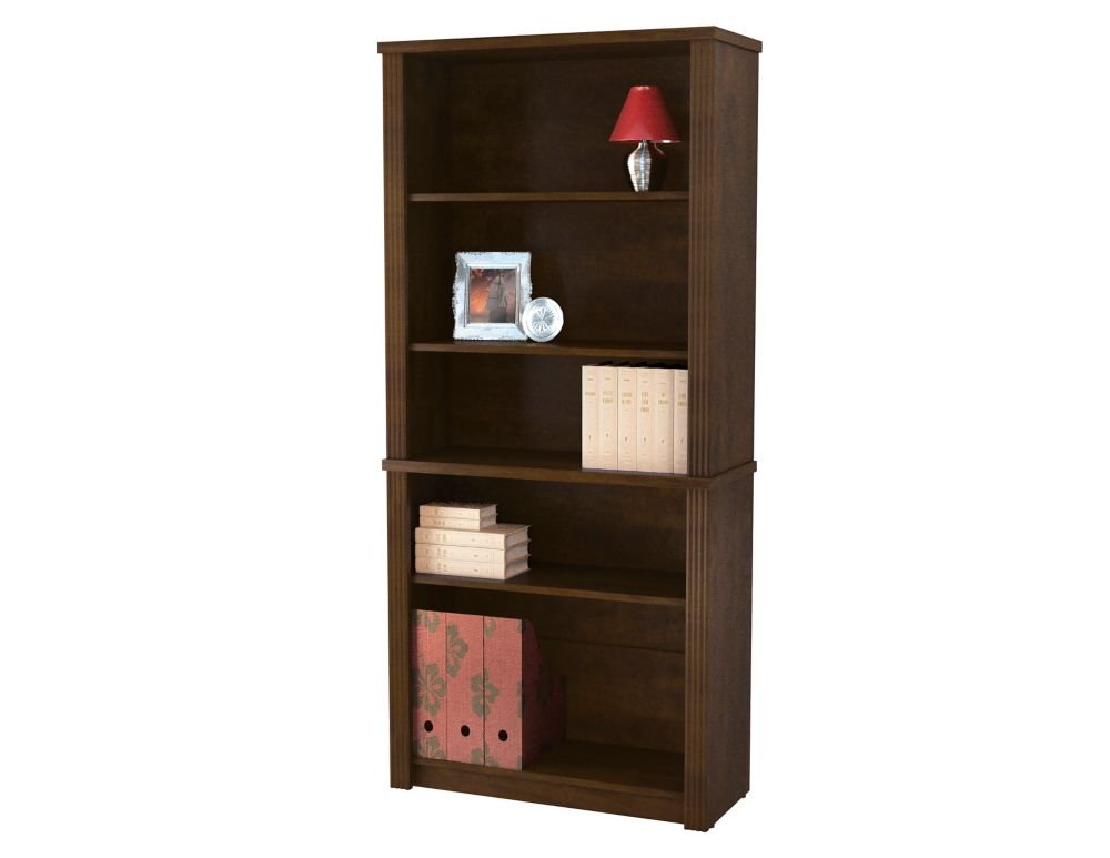 Bestar 30.8-inch x 66.8-inch x 12.9-inch 5-Shelf Manufactured Wood Bookcase in Espresso