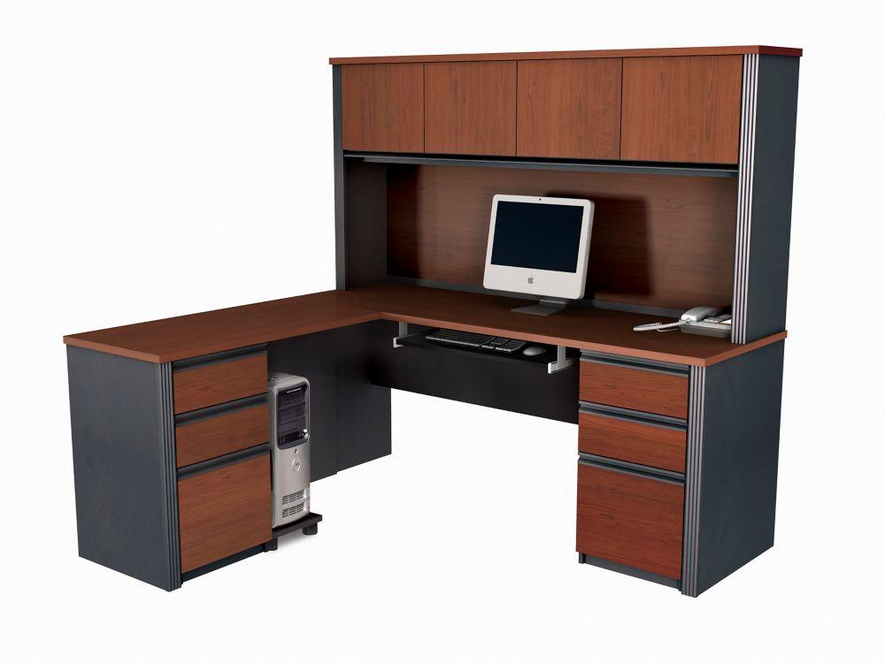 Prestige + L-shaped workstation kit in Bordeaux & Graphite