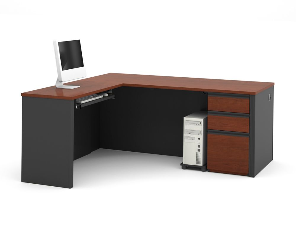 Bestar Prestige + 71.1-inch x 30.4-inch x 69.2-inch L-Shaped Computer Desk in Red