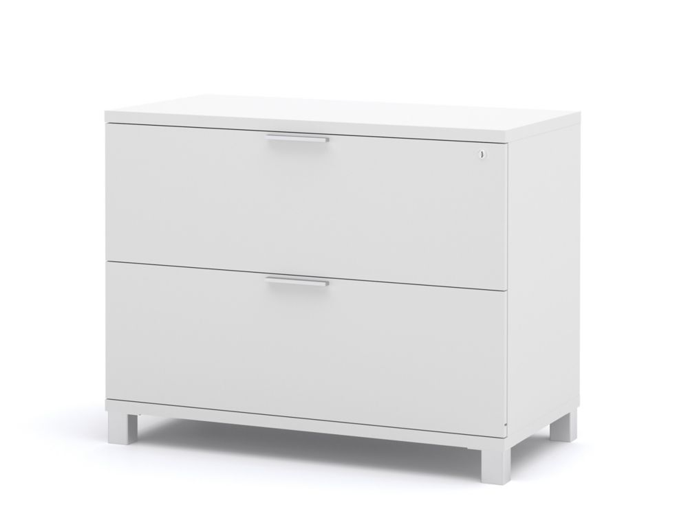 Bestar Pro-Linea 35.6-inch x 28.4-inch x 19.5-inch 2-Drawer Manufactured Wood Filing Cabinet in White