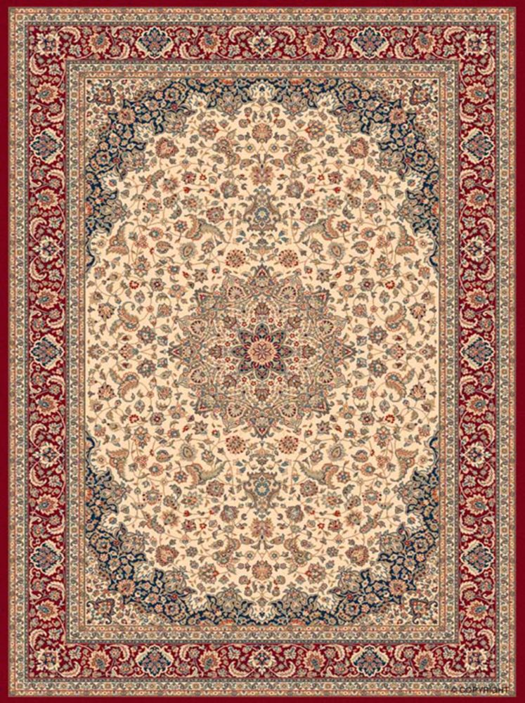 Classical ManorCream/Red 5 Feet 3 Inch x 7 Feet 5 Inch Area Rug