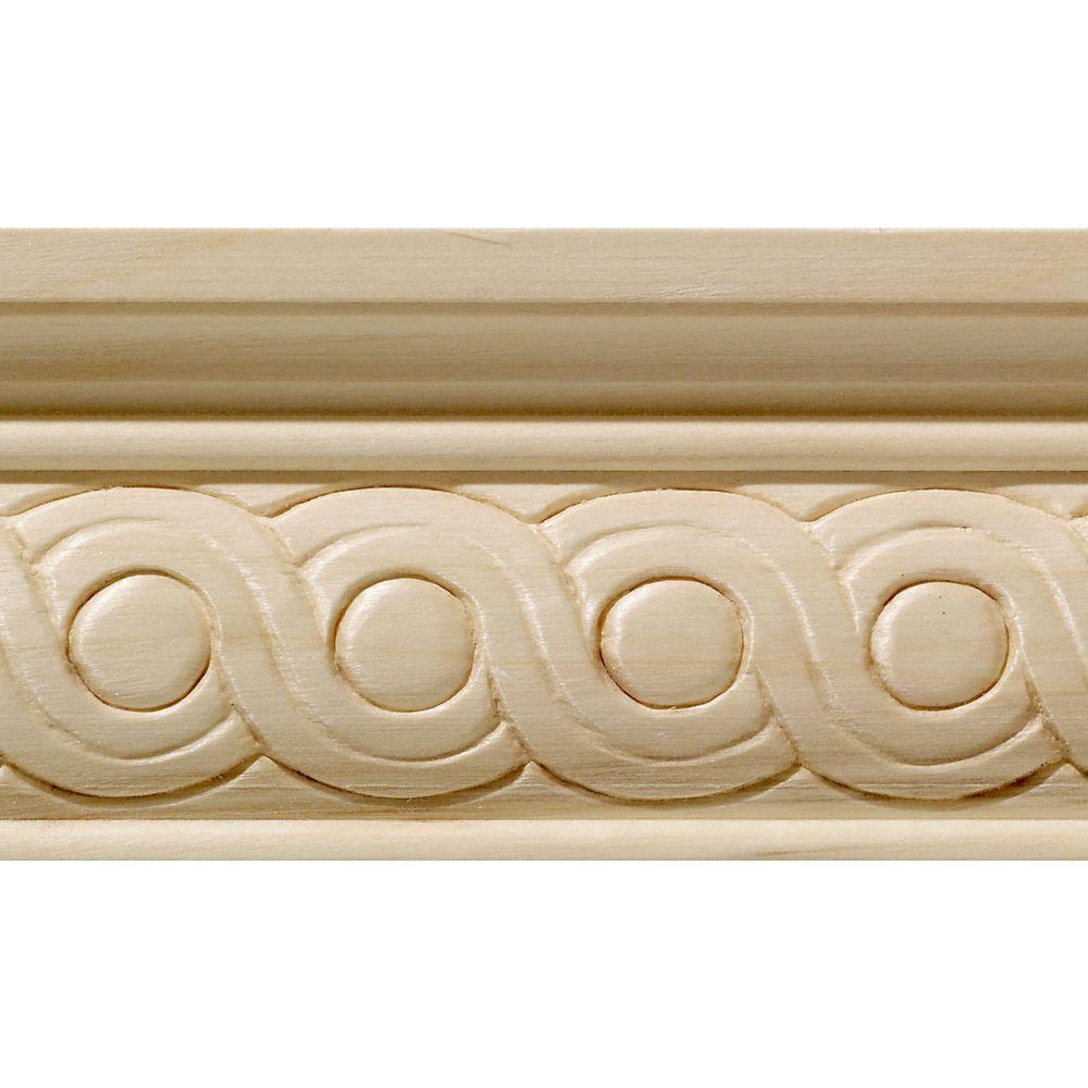 Blanche en bois dur, Rondelles grande cimaise - 1/2 X 2-1/4 po - vendu par pièce de 2,44 m