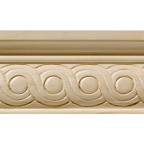 Ornamental Mouldings White Hardwood Rondele Large Chair Rail Moulding 1/2  Inch x 2-1/4  Inch x 8  Feet
