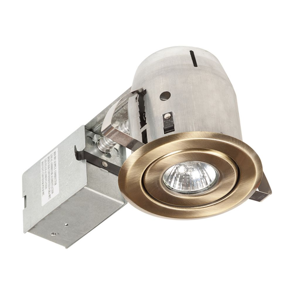 Globe Electric 90014 4 Inch Swivel Recessed Lighting Kit, Antique Brass Finish