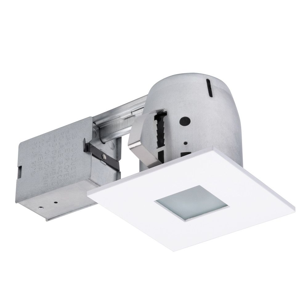 90653 4 Inch  Recessed Shower Lighting Kit, Square Shape with Matte White Finish