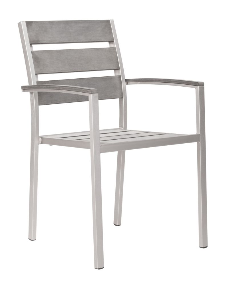 Metropolitan Slated Armchair Brushed Aluminum