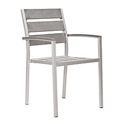 Zuo Modern Metropolitan Slated Brushed Aluminum Patio Armchair