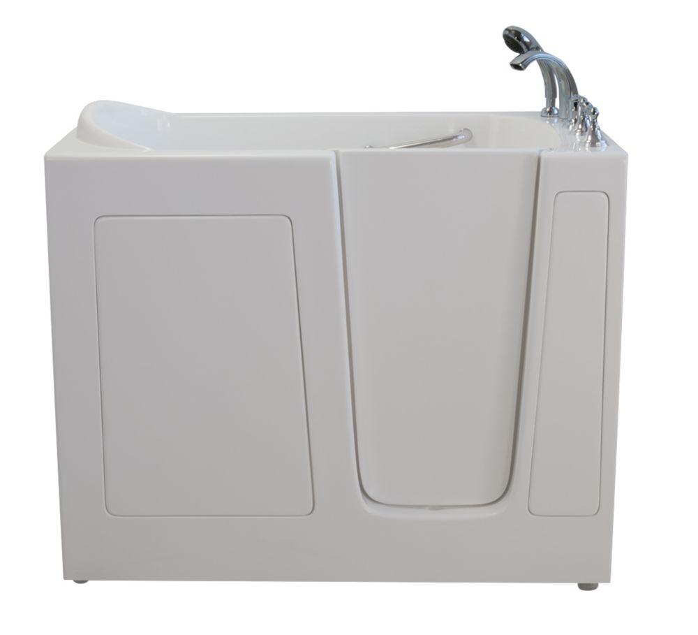 E-Series double massage de 54 po x 30 po promenade dans la baignoire en blanc avec le drain droit