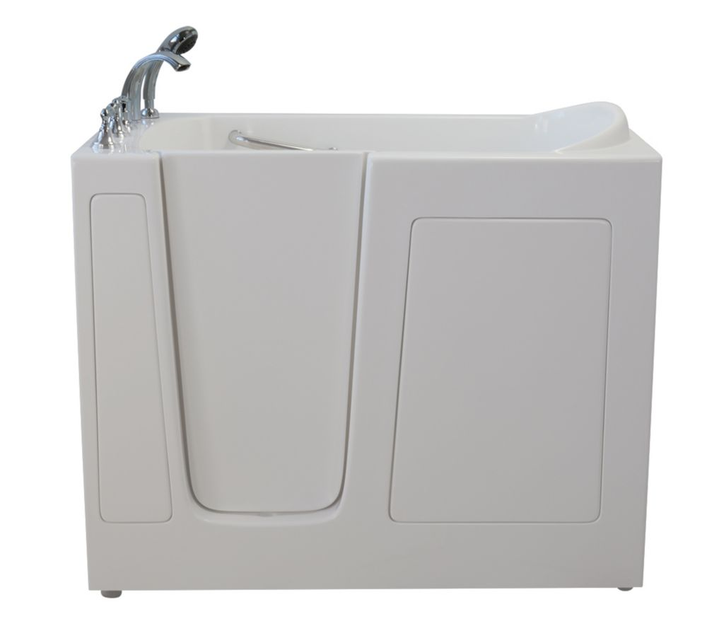 E-Series trempage de 54 po x 30 po promenade dans la baignoire en blanc avec le drain gauche