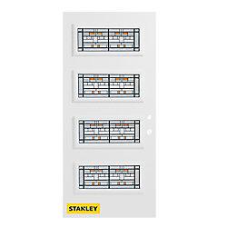 Stanley Doors Porte d'entrée en acier préfini en blanc, munie de 4 panneaux de verres, 32 po x 80 po, ouverture vers l'intérieur à gauche - ENERGY STAR®