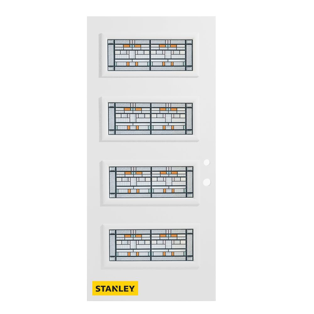 33.375 inch x 82.375 inch Chicago Patina 4-Lite Flutelite Prefinished White Left-Hand Inswing Steel Prehung Front Door - ENERGY STAR®