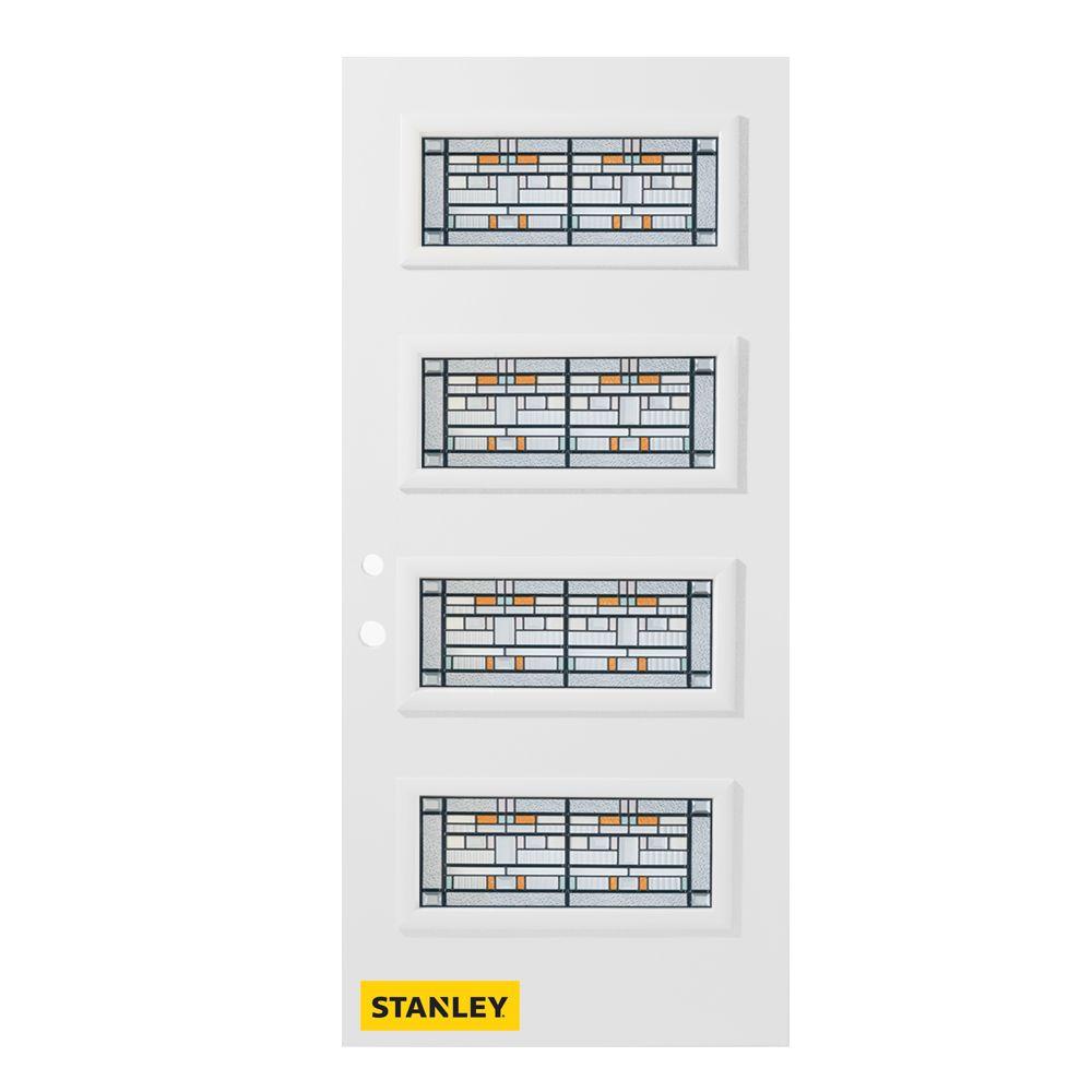 Porte d'entrée en acier préfini en blanc, munie de 4 panneaux de verres, 32 po x 80 po, ouverture...