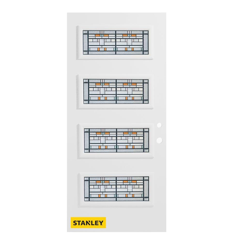 Stanley Doors 35.375 inch x 82.375 inch Chicago Patina 4-Lite Flutelite Prefinished White Left-Hand Inswing Steel Prehung Front Door - ENERGY STAR®