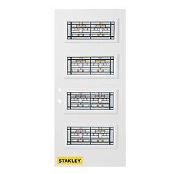 Stanley Doors Porte d'entrée en acier préfini en blanc, munie de 4 panneaux de verres, 34 po x 80 po, ouverture vers l'intérieur à droite - ENERGY STAR®