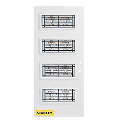 Stanley Doors Porte d'entrée en acier préfini en blanc, munie de 4 panneaux de verres, 36 po x 80 po, ouverture vers l'intérieur à gauche - ENERGY STAR®