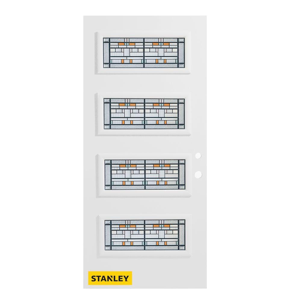 Stanley Doors 37.375 inch x 82.375 inch Chicago Patina 4-Lite Flutelite Prefinished White Left-Hand Inswing Steel Prehung Front Door - ENERGY STAR®