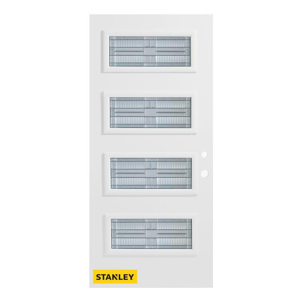 Stanley Doors 33.375 inch x 82.375 inch Seattle Zinc 4-Lite Flutelite Prefinished White Left-Hand Inswing Steel Prehung Front Door - ENERGY STAR®