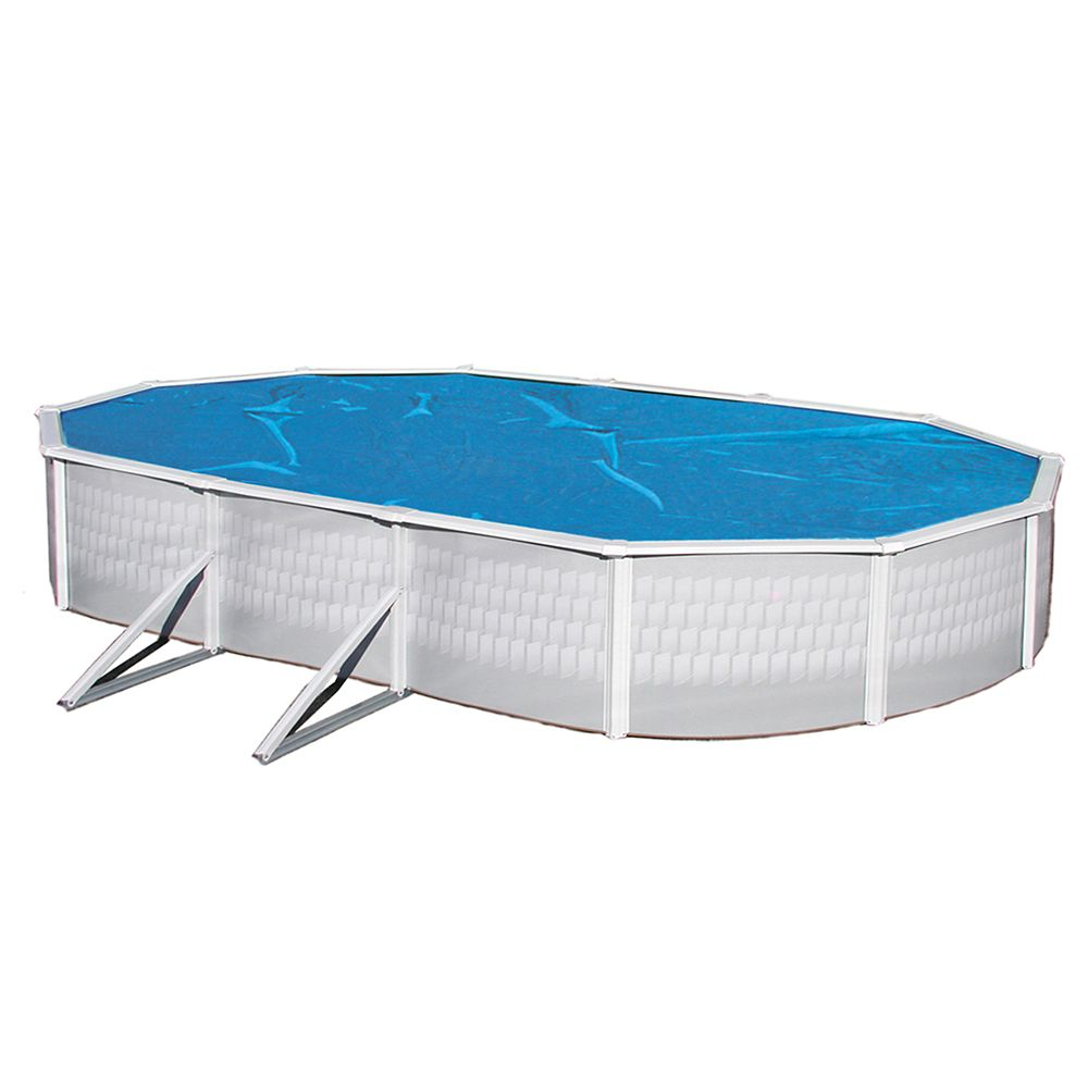 Toile solaire ovale 5,48 m X 12,1 m X 8 mm pour piscine hors-terre - Bleue