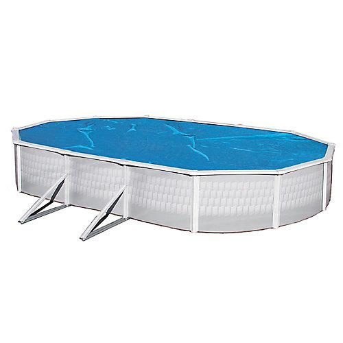 Toile solaire ovale 6,4 m x 12,5 m (21 pi x 41 pi) x 8 mm pour piscine hors-terre - Bleue
